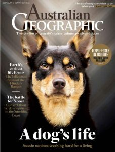 Cover of Australian Geographic Magazine with a dog picture on the front
