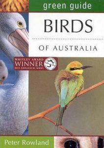 The Green Guide to the Birds of Australia front cover with Whitley Award Winner sticker and Rainbow Bee-eater