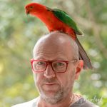 Peter Rowland and an Australian King Parrot