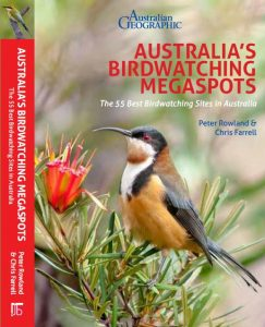 Front cover of Australia's Birdwatching Megaspots book showing a picture of an Eastern Spinebill