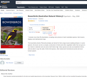 Screenshot from Amazon store with Peter Rowland's Bowerbird book shown