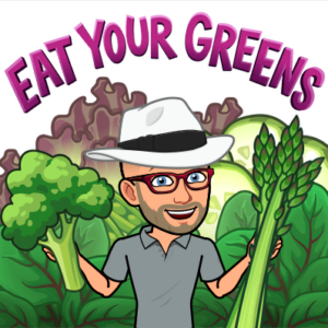 Avatar of Peter Rowland holding brocolli and asparagus with the words Eat Your Greens