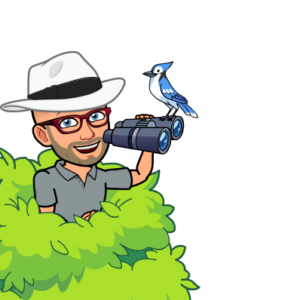 Avatar of Peter Rowland holding binoculars and with a Blue Jay sitting on them