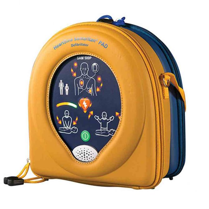 Portable Defibrillator in yellow case