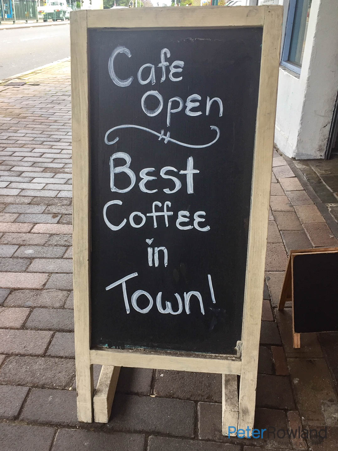 Chalkboard with Best Coffee in town written chalk