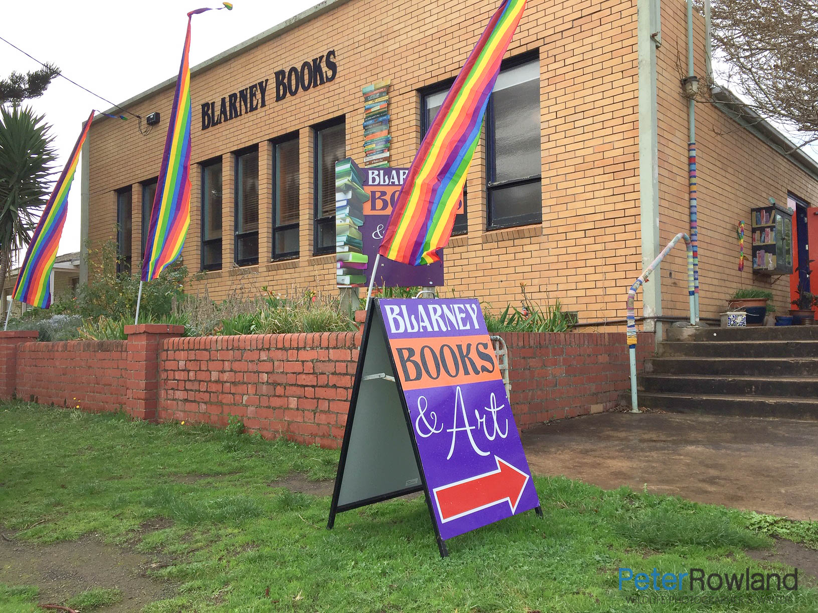 Sign in fornt of Blarney Books and Art Building